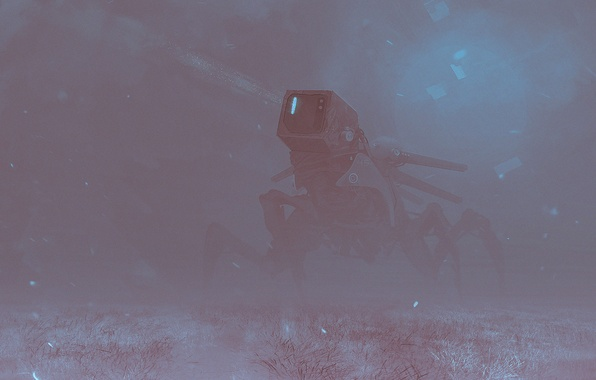 Картинка снег, фантастика, робот, голова, арт