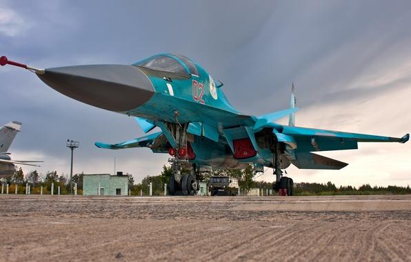 Фото обои стоянка, бомбардировщик, аэродром, Су-34