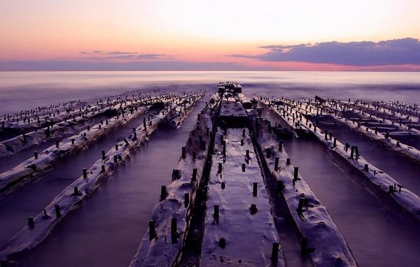 Фото обои блоки, горизонт, берег, вода