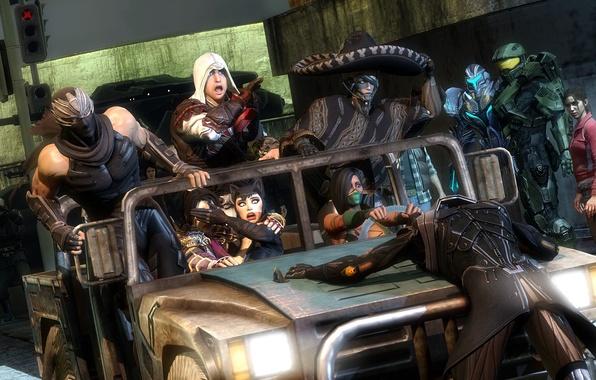 Картинка Halo, Ninja Gaiden, Ezio, crossover, Assassin's Creed, fan art, catwoman, Raiden, Metal Gear Rising: Revengeance, …