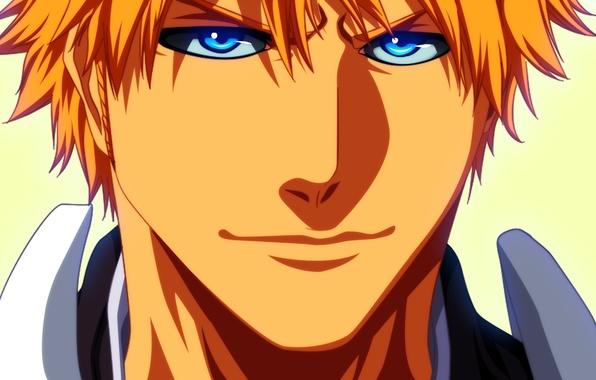 Картинка взгляд, аниме, арт, парень, bleach, блондин, ichigo kurosaki, shinigami