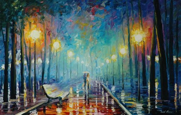Картинка осень, листья, свет, зонтик, дождь, лавочка, фонари, пара, живопись, Leonid Afremov