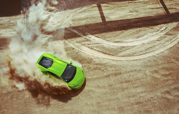 Картинка Lamborghini, Green, Sand, View, Huracan, Top, LP640-4, Skid, Drifting