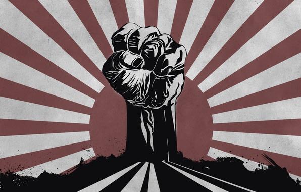 Картинка солнце, сила, борьба, мощь, кулак, Fight 4 your Rights, права, свои, борись