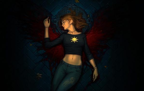 Картинка листья, девушка, кровь, крылья, джинсы, брусчатка, арт, крышка, мостовая, смайлик, люк, лежа, arden rey