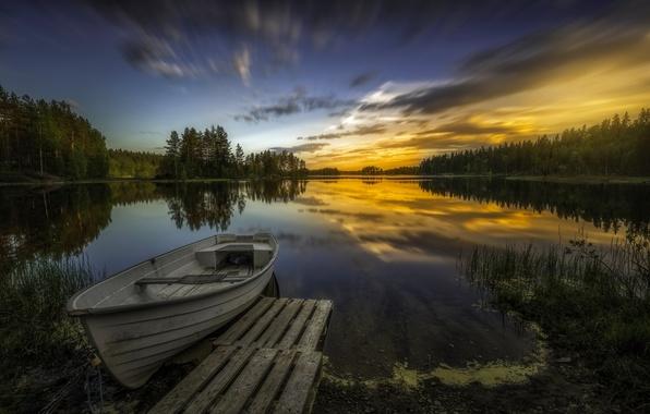 Картинка деревья, закат, озеро, отражение, лодка, Норвегия, Norway, Рингерике, Ringerike, Aklangen
