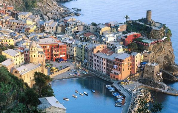 Картинка горы, лодки, Италия