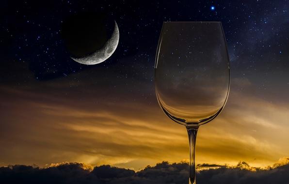 Картинка луна, бокал, звёзды