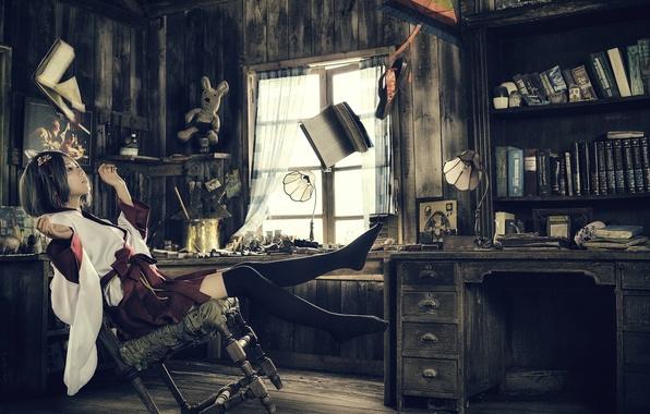 Картинка девушка, комната, магия, книги, ситуация, азиатка