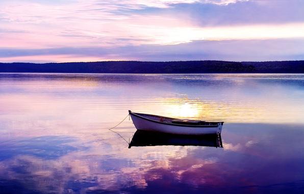 Картинка закат, озеро, гладь, лодка, вечер