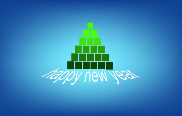 Картинка синий, зеленый, кубики, елка, минимализм, с новым годом