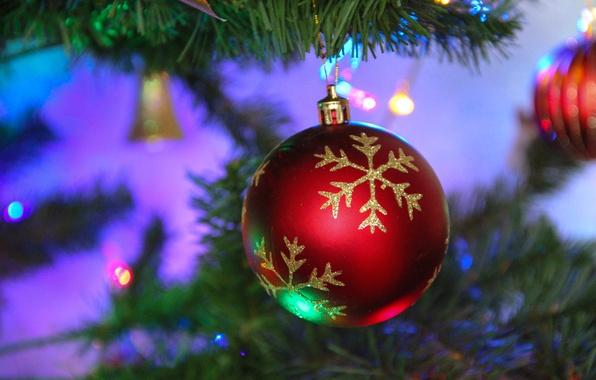 Картинка шарики, украшения, праздник, елка, Рождество, Новый год, New Year, Merry Christmas