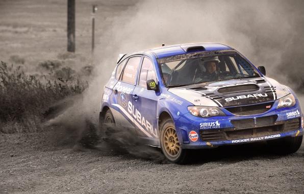 Картинка Авто, Синий, Subaru, Impreza, Спорт, Машина, Занос, WRX, STI, WRC, Rally, Передок