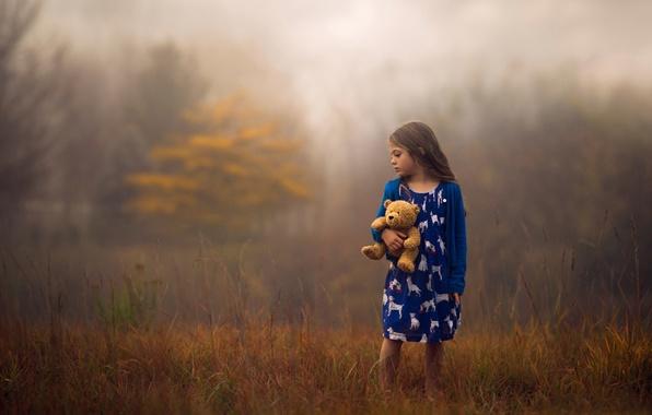 Картинка осень, природа, игрушка, девочка