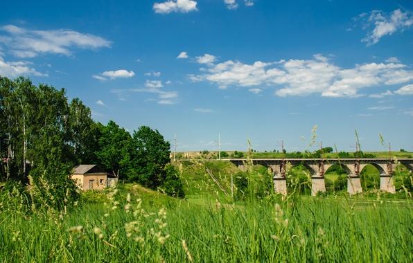 Картинка лето, небо, трава, облака, мост