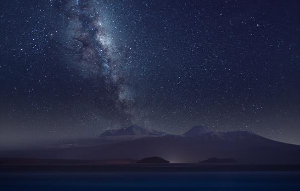 Картинка космос, звезды, горы, ночь, млечный путь
