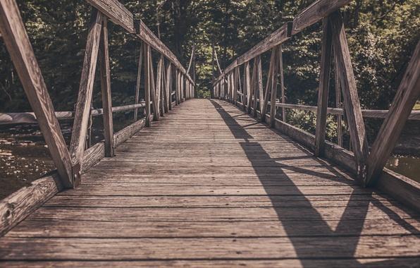 Картинка мост, тень, деревянный