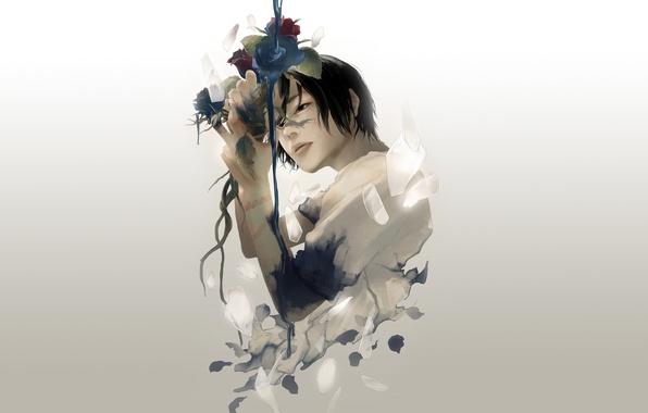 Картинка осколки, розы, парень, art