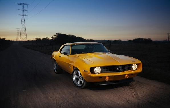 Картинка дорога, Chevrolet, Camaro, линия электропередач, SS 396