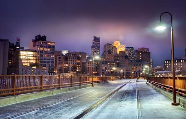 Картинка зима, снег, ночь, United States, winter, snow, Миннесота, Skyline at Night, Minnesota, Minneapolis, Миннеаполис