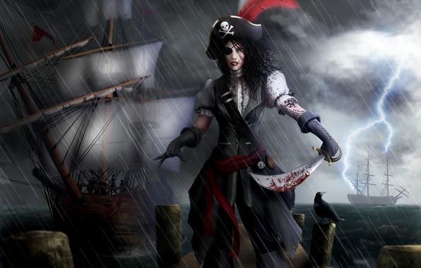 Картинка море, девушка, дождь, перо, молния, кровь, корабли, арт, перчатки, повязка, пиратка, сабля, треуголка, Ryan Jones