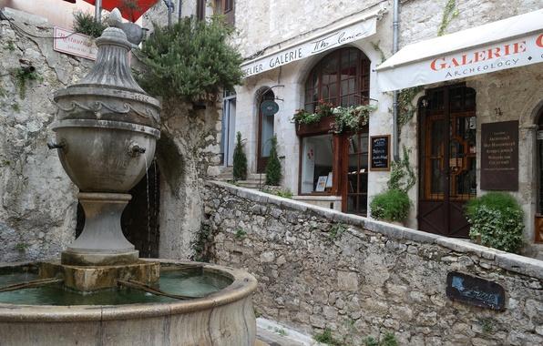Фото обои Сен-Поль-де-Ванс, Франция, Лазурный берег, улочка, галерея, фонтан