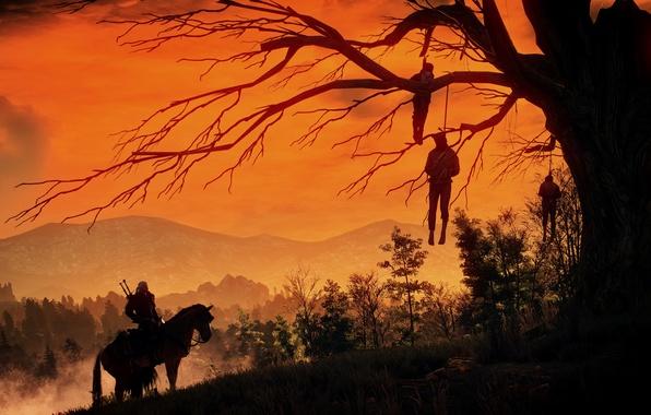 Картинка дерево, Ведьмак, висельники, The Witcher 3:Wild Hunt