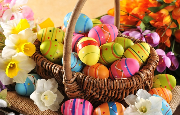 Картинка цветы, яйца, весна, colorful, Пасха, happy, wood, flowers, spring, Easter, eggs, holiday