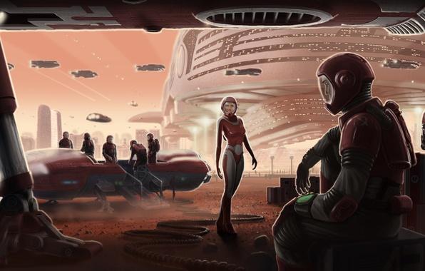 Картинка люди, корабли, роботы, порт, марс, космический, ремонт