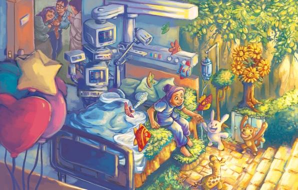 Картинка смерть, путь, девочка, больница, к возрождению, врач, палата, родители, горе