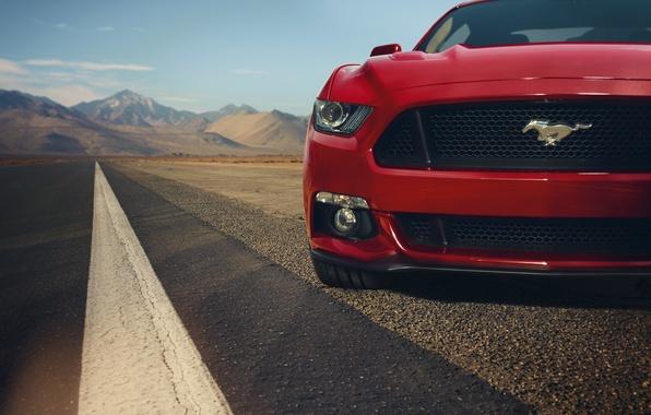 Картинка красный, Mustang, Ford, мустанг, перед, red, мускул кар, форд, muscle car, front