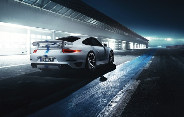 Картинка Авто, Ночь, Белый, 911, Porsche, Машина, Свет, Суперкар, Turbo, Трек, Спорткар, Вид сзади, by TechArt