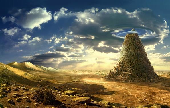 Картинка небо, природа, скала, камни, фантастика, пустыня, арт