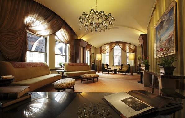 Картинка свет, дизайн, отражение, стол, комната, окна, интерьер, картина, люстра, книга, полумрак, шторы, диваны, room, interior