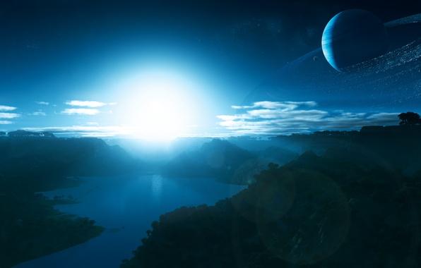 Картинка небо, вода, поверхность, свет, деревья, горы, жизнь, блики, восход, рассвет, звезда, кольца, утро, атмосфера, спутники, …