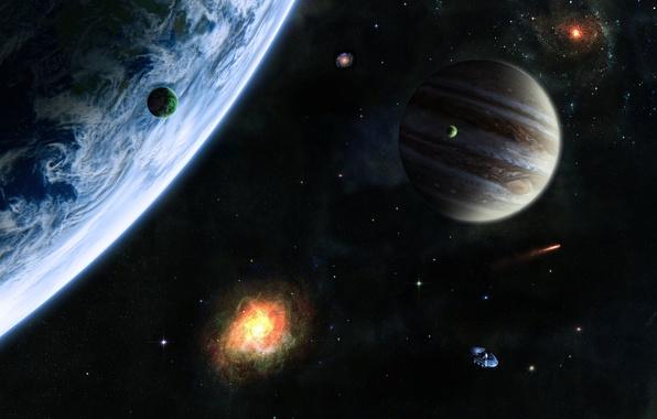 Картинка Звезды, Планета, Космос, Вселенная, Stars, Космические Корабли