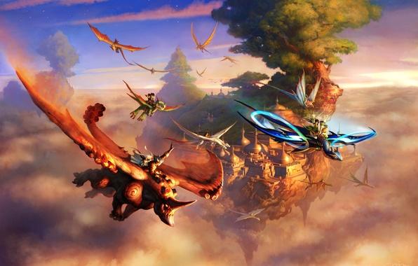 Картинка облака, полет, город, скала, дерево, драконы, фэнтези, арт, существа, наездники, носорог, всадники, в небе, верхом, …