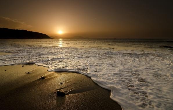 Картинка песок, море, волны, пейзаж, закат, природа, камни