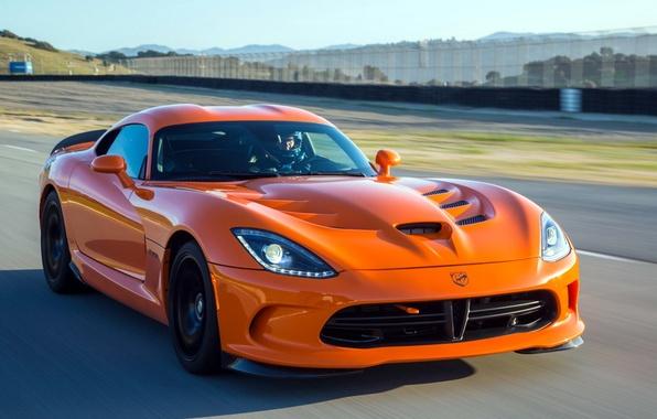 Картинка машина, оранжевый, скорость, Dodge, суперкар, Viper, SRT