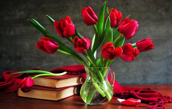 Картинка книги, букет, тюльпаны, ваза, still life