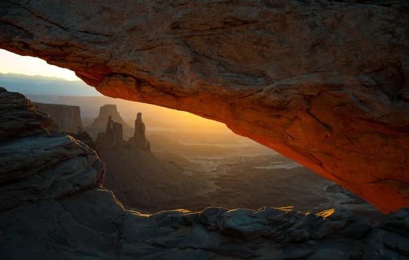 Картинка пейзаж, закат, скала, каньон