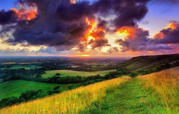 Картинка зелень, поле, небо, трава, солнце, облака, деревья, пейзаж, тучи, природа, восход, Англия, утро, тропинка, Западный …