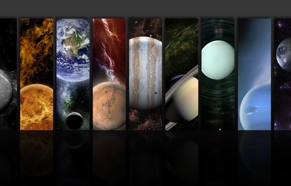 Картинка земля, планеты, марс, юпитер, нептун, сатурн, венера