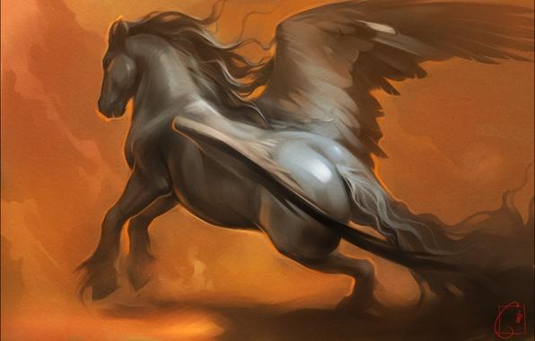 Картинка конь, крылья, фэнтези, арт, пегас, Александра Хитрова, GaudiBuendia