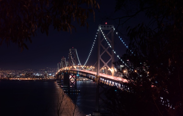 Картинка City, Landscape, Bay Bridge, Architecture, San-Francisco, West, Nigth, Scape