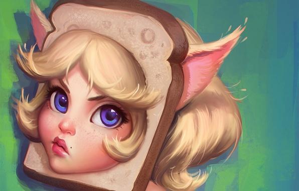 Картинка глаза, взгляд, девушка, лицо, арт, хлеб, ушки