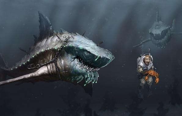Картинка море, человек, краб, хищники, арт, цепь, акулы, под водой, голод, крюк, акваланг, мегалодон