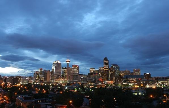 Картинка небо, огни, вечер, Канада, Canada, сумерки, синее, Калгари, Calgary