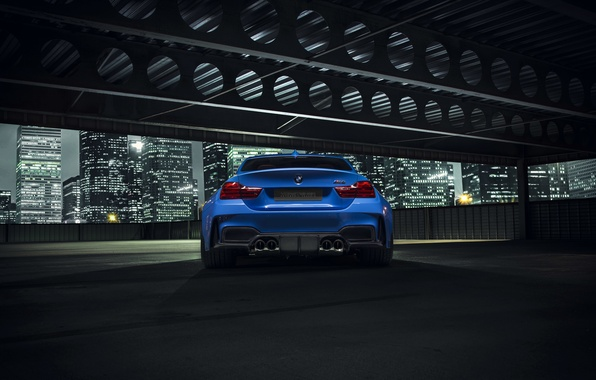 Картинка BMW, City, Blue, Vorsteiner, Widebody, Rear, Photoshoot, Nigth, GTRS4