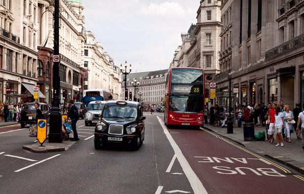 Картинка движение, люди, улица, Лондон, здания, автобус, архитектура, остановка, street, England, buss stop